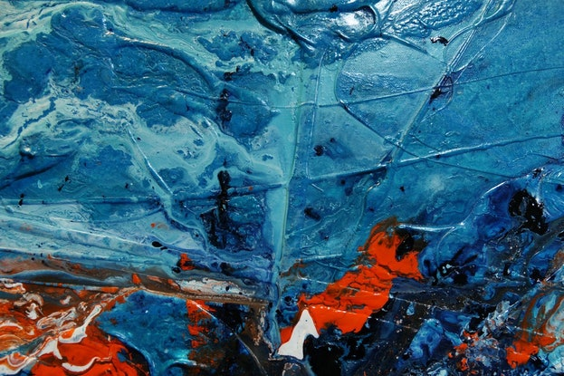 (CreativeWork) Aqua Duct 190cm x 100cm Blue Teal Turquoise white Orange Textured Abstract Franko by _Franko _. Acrylic Paint. Shop online at Bluethumb.