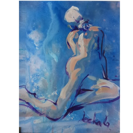 (CreativeWork) Girl on Blue by Leeka Gruzdeff. Acrylic Paint. Shop online at Bluethumb.