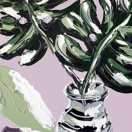 (CreativeWork) Lady Monstera by Lisa Fahey. Acrylic Paint. Shop online at Bluethumb.