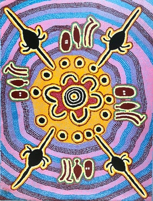 (CreativeWork) Ngarlu Jukurrpa (Love Story Dreaming) 563/05 (M) by Paddy Japaljarri Stewart. Acrylic Paint. Shop online at Bluethumb.