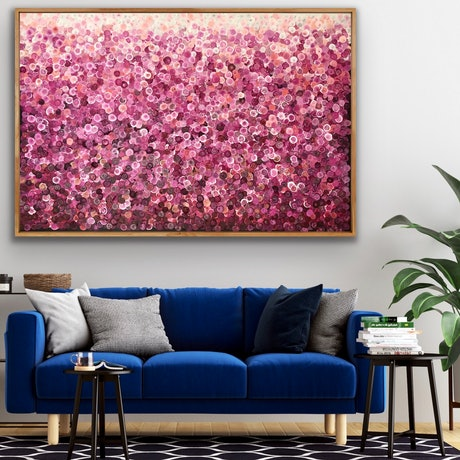 (CreativeWork) On sale Strawberry crush 153x102 framed large abstract  by Sophie Lawrence. Acrylic Paint. Shop online at Bluethumb.