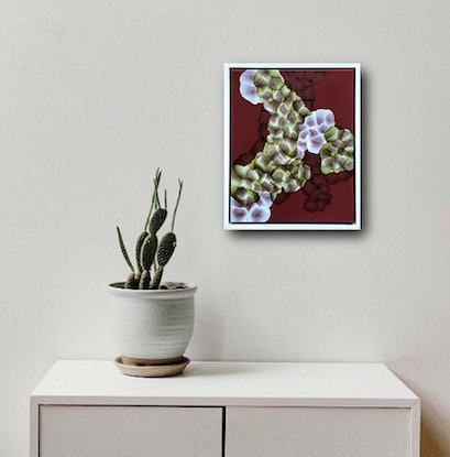 (CreativeWork) Bio Bloom Sanguine-Field I – Original Abstract Painting Framed by Jacquelyn Stephens. Acrylic Paint. Shop online at Bluethumb.