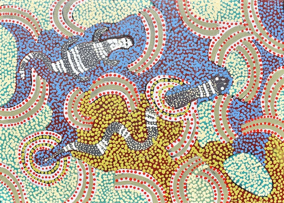 (CreativeWork) Liru (Poisonous snake) looking for Tinka (Sand Goanna) to eat.  20-308 by Mrs H. Reid. Acrylic Paint. Shop online at Bluethumb.