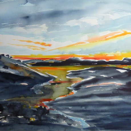 (CreativeWork) Sunset over South Australian Waterway [via Yacka]  by Virginia McGowan. Watercolour Paint. Shop online at Bluethumb.