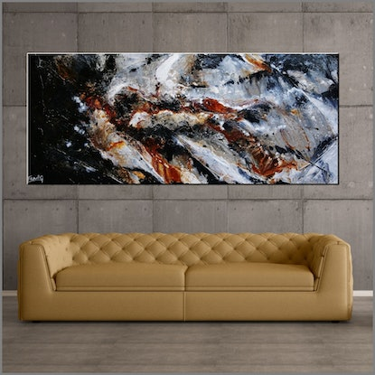 (CreativeWork) Slated Noir 240cm x 100cm Black Oxide Rust Orange Brown Textured Abstract Franko by _Franko _. Acrylic Paint. Shop online at Bluethumb.