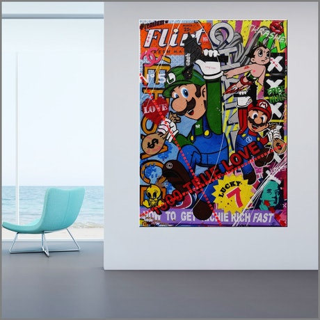 (CreativeWork) Mario and Luigi Take The Town 140cm x 100cm Urban Pop Textured Acrylic Gloss Finish FRANKO by _Franko _. Mixed Media. Shop online at Bluethumb.
