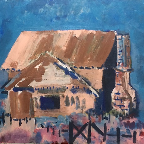 (CreativeWork) Dairy farm: steeped in liquor by Sharon Monagle. Acrylic Paint. Shop online at Bluethumb.
