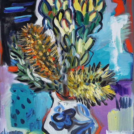 (CreativeWork) Still Life with Banksia Spinulosa by Katerina Apale. Oil Paint. Shop online at Bluethumb.