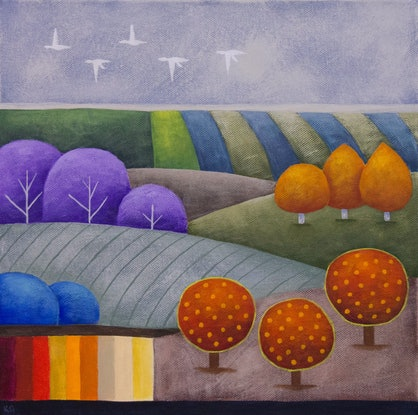 (CreativeWork) Dusk Patchwork No.3 by Kate Graham. Acrylic Paint. Shop online at Bluethumb.