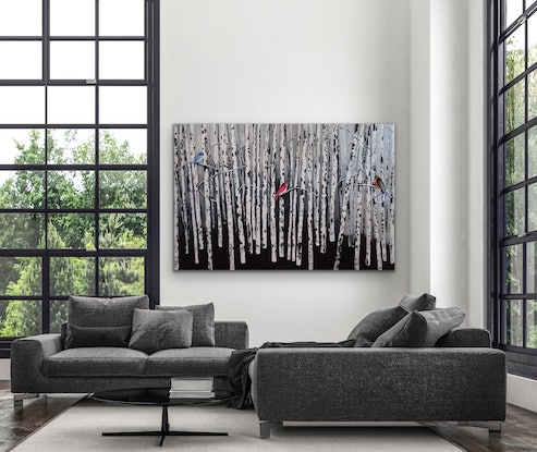 (CreativeWork) The 3 P's - Peace, Passion and Prosperity - Large canvas by Maria Cross. Acrylic Paint. Shop online at Bluethumb.