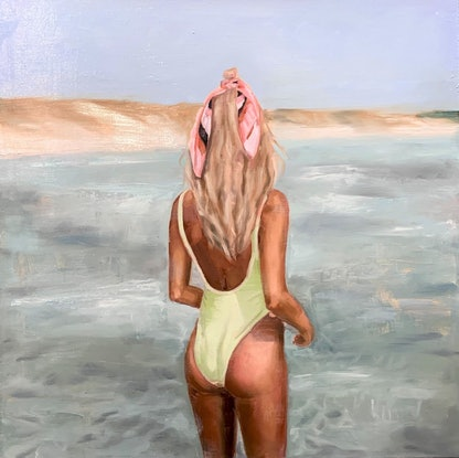 (CreativeWork) Lime Swimmer  by Holly Harper. Oil. Shop online at Bluethumb.