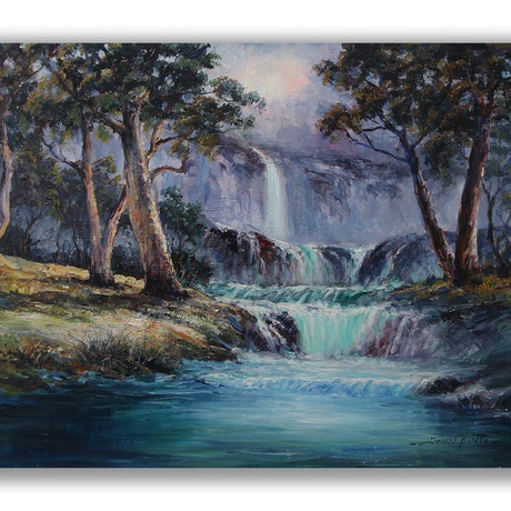 (CreativeWork) Waterfall by John Pinto. Oil Paint. Shop online at Bluethumb.