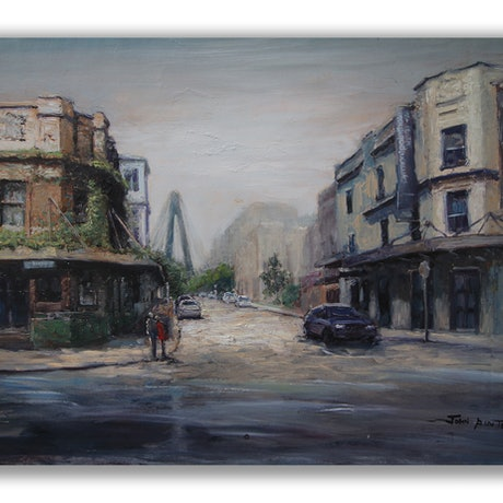 (CreativeWork) Cnr John St and Harris St Ultimo by John Pinto. Oil Paint. Shop online at Bluethumb.