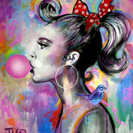 (CreativeWork) BUBBLE GIRL by loui jover. Acrylic Paint. Shop online at Bluethumb.