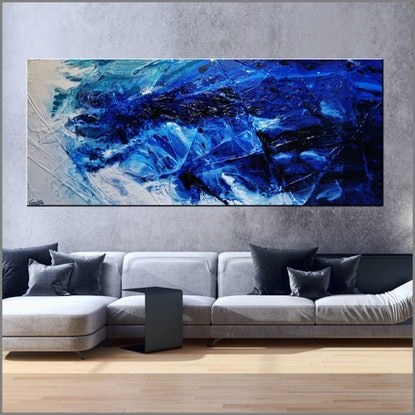 (CreativeWork) Fractured 240cm x 100cm Blue White Textured Abstract Franko by _Franko _. Acrylic Paint. Shop online at Bluethumb.