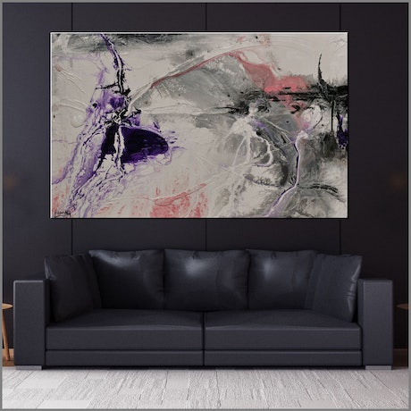 (CreativeWork) Purple Silk 160cm x 100cm White Purple Textured Abstract Franko by _Franko _. Acrylic Paint. Shop online at Bluethumb.