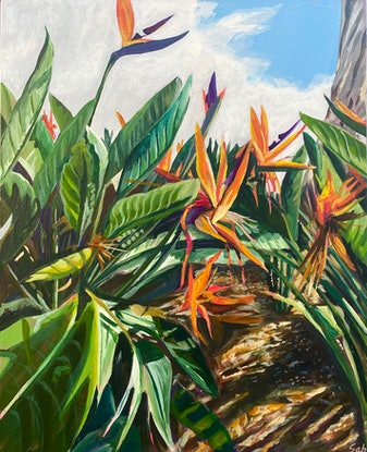 (CreativeWork) Birds of Paradise Salute by Sarah Abbott. Acrylic Paint. Shop online at Bluethumb.