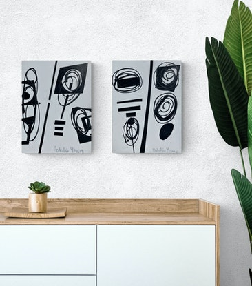 (CreativeWork) Minimal Black and White   ( Diptych) by natalie green. Mixed Media. Shop online at Bluethumb.
