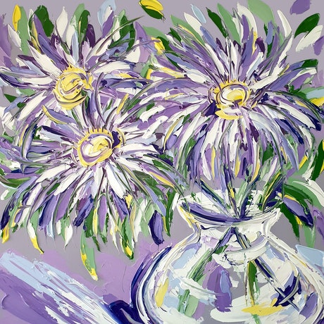 (CreativeWork) September Flowers - Aster  by Lisa Fahey. Acrylic Paint. Shop online at Bluethumb.
