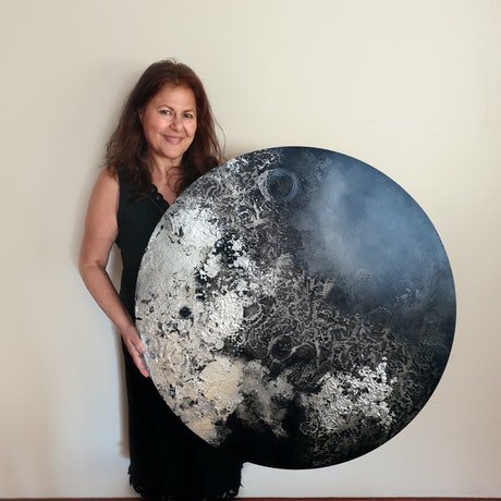 (CreativeWork) Silvery Moon by Brigitte Ackland. Mixed Media. Shop online at Bluethumb.