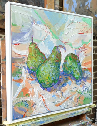 (CreativeWork) Pears Still Life - Framed by Joseph Villanueva. Acrylic Paint. Shop online at Bluethumb.