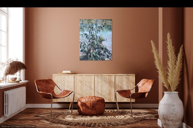(CreativeWork) Koondrook  Reflections by Gaye Sutherland. Oil Paint. Shop online at Bluethumb.