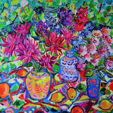 (CreativeWork) Still Life with Dahlias by Katerina Apale. Acrylic Paint. Shop online at Bluethumb.