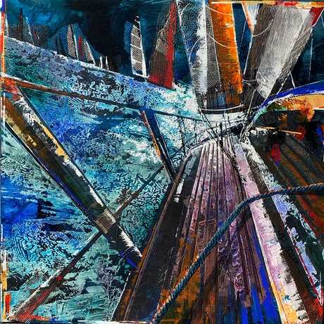 (CreativeWork) Into the swell by De Gillett Cox. Acrylic Paint. Shop online at Bluethumb.