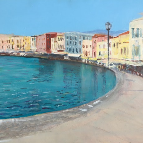 (CreativeWork) Chania by Desma Kastanos. Oil Paint. Shop online at Bluethumb.