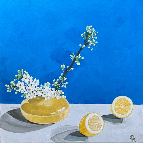 (CreativeWork) Lemon With Satsuma Blossoms by Dominika Keller. Acrylic Paint. Shop online at Bluethumb.