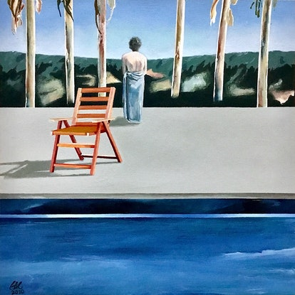 (CreativeWork) Hotel pool by Geoff Coleman. Acrylic Paint. Shop online at Bluethumb.