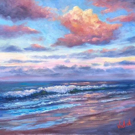 (CreativeWork) Last light at Coolum Beach - oil on loose Belgian linen  by Christopher Vidal. Oil Paint. Shop online at Bluethumb.