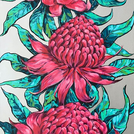 (CreativeWork) Waratah Flowers on a  Silver Background by Irina Redine. Acrylic Paint. Shop online at Bluethumb.
