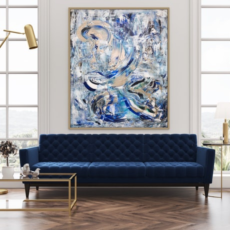 (CreativeWork) Peninsula - Blue And Gold Abstract Large by Annette Spinks. Acrylic Paint. Shop online at Bluethumb.