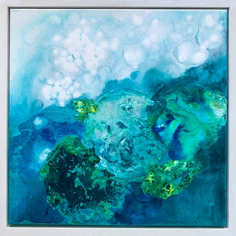 (CreativeWork) Ocean blues by Janelle Bowra. Acrylic Paint. Shop online at Bluethumb.