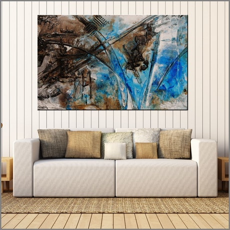 (CreativeWork) Washed Rust 160cm x 100cm Blue Rust Textured Abstract Franko  by _Franko _. Acrylic Paint. Shop online at Bluethumb.