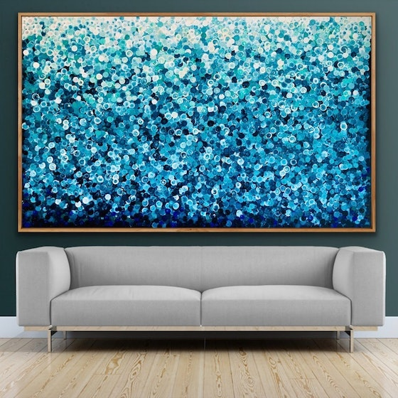 (CreativeWork) Sorrento dreams 200x122 framed large textured abstract reserved for deborah by Sophie Lawrence. Acrylic Paint. Shop online at Bluethumb.