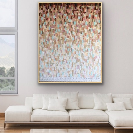 (CreativeWork) Sun kissed 122x153 tall framed large textured abstract  by Sophie Lawrence. Acrylic Paint. Shop online at Bluethumb.