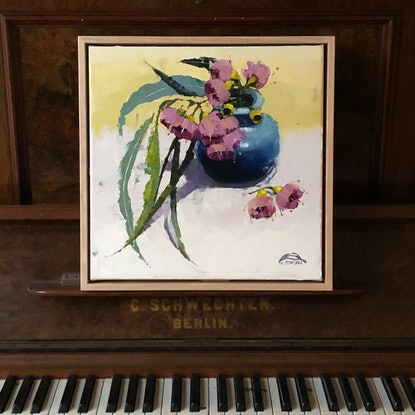 (CreativeWork) Pink gum blossom, tumbling leaves (38 cm framed) by kirsty mcintyre. Oil Paint. Shop online at Bluethumb.