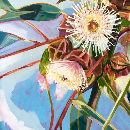 (CreativeWork) Eucalyptus Cluster by Sarah Abbott. Acrylic Paint. Shop online at Bluethumb.