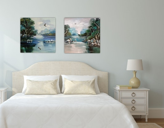 (CreativeWork) Abstract landscape  - Quiet Place # 1 by Susan Trudinger. Acrylic Paint. Shop online at Bluethumb.