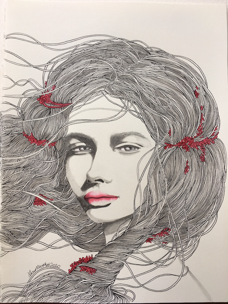 (CreativeWork) Flowers in her hair by Lisa Murphy. Drawings. Shop online at Bluethumb.