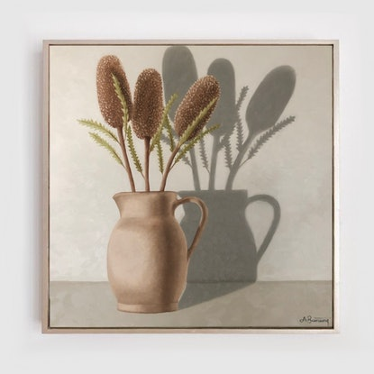 (CreativeWork) Banksia and Ceramic Vase by Ashley Bunting. Oil. Shop online at Bluethumb.