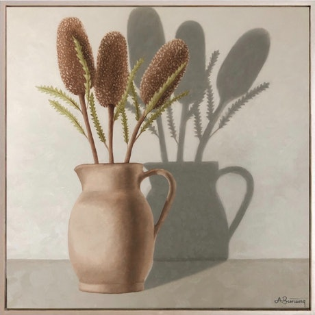 (CreativeWork) Banksia and Ceramic Vase by Ashley Bunting. Oil Paint. Shop online at Bluethumb.