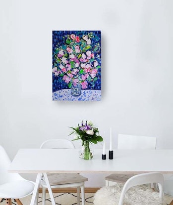 (CreativeWork) Still Life with Sweet Pea Flowers by Katerina Apale. Acrylic Paint. Shop online at Bluethumb.