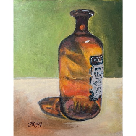 (CreativeWork) Amber Bottle  by Eileen Scrymgeour Rigby. Acrylic Paint. Shop online at Bluethumb.