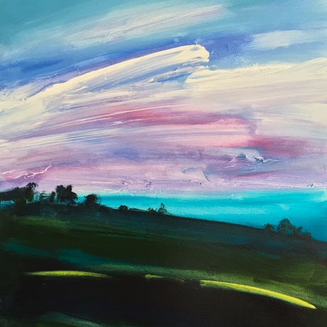 (CreativeWork) Turquoise and Pinks by Meredith Howse. Acrylic Paint. Shop online at Bluethumb.