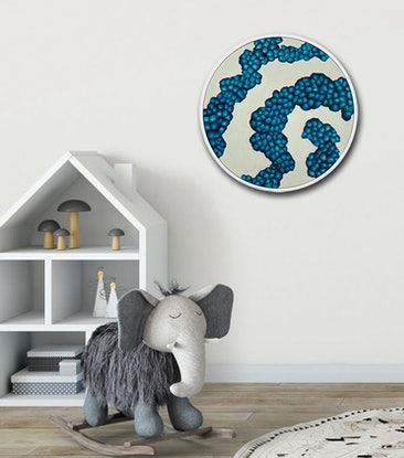 (CreativeWork) Bio-Sphere Rockpool III – Round Abstract Painting Framed by Jacquelyn Stephens. Acrylic Paint. Shop online at Bluethumb.