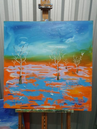 (CreativeWork) Menindee Lakes by Little Heath. Oil Paint. Shop online at Bluethumb.