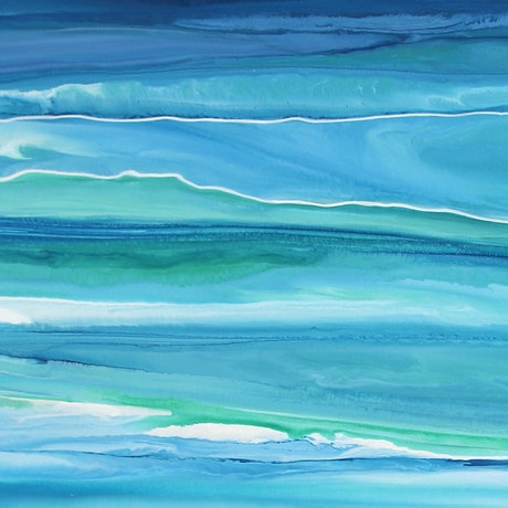 (CreativeWork) Mocean -  blue green, abstract seascape by Stephanie Laine Pickering. Acrylic Paint. Shop online at Bluethumb.